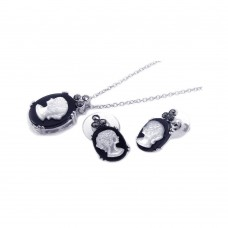 Wholesale Sterling Silver 925 Rhodium Plated Pearl Woman Lady Figure Black Onyx Black CZ Set - BGS00054
