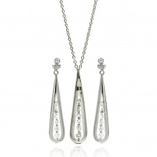 **Closeout** Wholesale Sterling Silver 925 Rhodium Plated Clear Slim Tear Drop CZ Dangling Stud Earring and Necklace Set - BGS00056