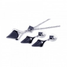 Wholesale Sterling Silver 925 Rhodium Plated Black Square Pointed CZ Dangling Set - BGS00057