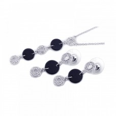 **Closeout** Wholesale Sterling Silver 925 Rhodium Plated Black Round Open Circle Clear CZ Dangling Set - BGS00058