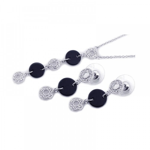 -Closeout- Wholesale Sterling Silver 925 Rhodium Plated Black Round Open Circle Clear CZ Dangling Set - BGS00058