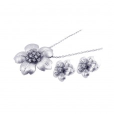 **Closeout** Wholesale Sterling Silver 925 Rhodium Plated Clear Flower CZ Stud Earring and Necklace Set - BGS00060