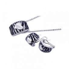 **Closeout** Wholesale Sterling Silver 925 Rhodium Plated Zebra Stripe Print Enamel Heart French Clip Earring and Necklace Set - BGS00061