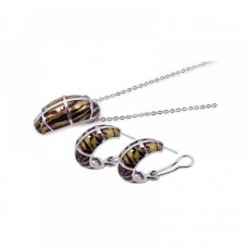 **Closeout** Wholesale Sterling Silver 925 Rhodium Plated Brown Zebra Stripe Print French Clip Earring and Necklace Set - BGS00062