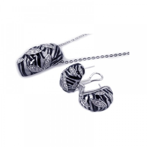 -CLOSEOUT- Wholesale Sterling Silver 925 Rhodium Plated Zebra Stripe Print Clear CZ French Clip Earring and Necklace Set - BGS00063