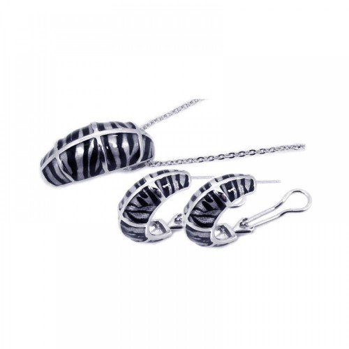 **Closeout** Wholesale Sterling Silver 925 Rhodium Plated Black Zebra Stripe Print French Clip Earring and Necklace Set - BGS00064