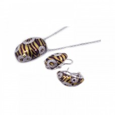 **Closeout** Wholesale Sterling Silver 925 Rhodium Plated Brown Zebra Stripe Print Clear CZ French Clip Earring and Necklace Set - BGS00065
