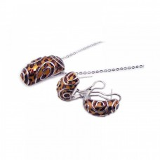 **Closeout** Wholesale Sterling Silver 925 Rhodium Plated Brown Leopard Print French Clip Earring and Necklace Set - BGS00066