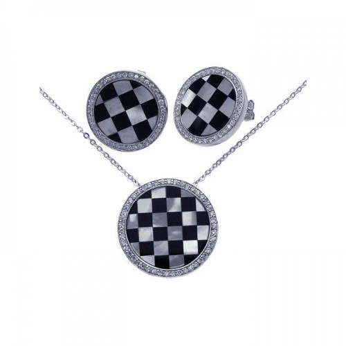 **Closeout** Wholesale Sterling Silver 925 Rhodium Plated Round Checker Clear CZ Stud Earring and Necklace Set - BGS00068