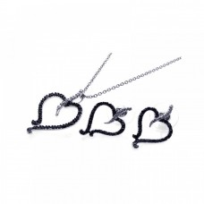 **Closeout** Sterling Silver Rhodium Plated Black & Clear Open Heart CZ Stud Earring & Dangling Necklace Set bgs00070
