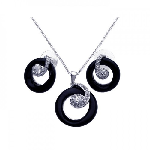 -Closeout- Wholesale Sterling Silver 925 Rhodium Plated Open Black Onyx Circle Clear CZ Stud Earring and Dangling Necklace Set - BGS00072