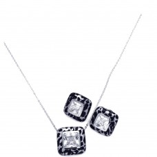 **Closeout** Wholesale Sterling Silver 925 Rhodium Plated Square Leopard Print Clear CZ Stud Earring and Necklace Set - BGS00073