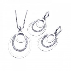 ***CLOSEOUT***Sterling Silver Rhodium Plated Clear Open Multi Layer Oval CZ Dangling Stud Earring & Dangling Necklace Set bgs00078