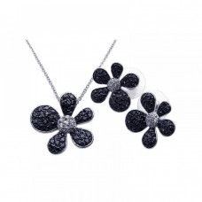 Wholesale Sterling Silver 925 Rhodium and Black Rhodium Plated Black and Clear Pave Set Flower CZ Stud Earring and Necklace Set - BGS00079