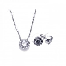 Sterling Silver Rhodium Plated Clear Round Pave Set CZ Stud Earring & Necklace Set bgs00081