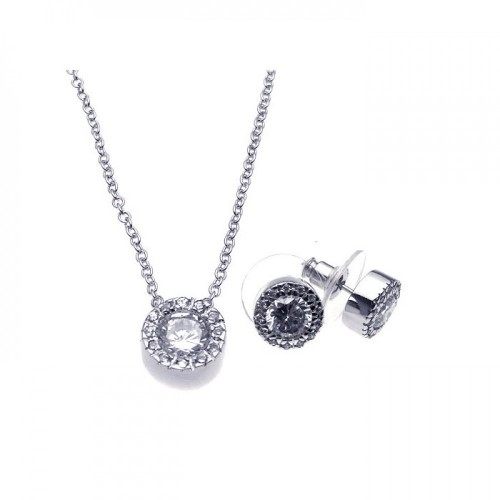 Wholesale Sterling Silver 925 Rhodium Plated Clear Round Pave Set CZ Stud Earring and Necklace Set - BGS00081
