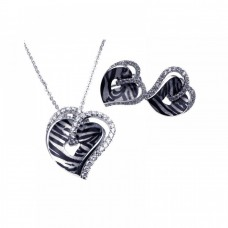 **Closeout** Wholesale Sterling Silver 925 Rhodium Plated Zebra Stripe Print Heart Clear CZ Stud Earring and Necklace Set - BGS00082