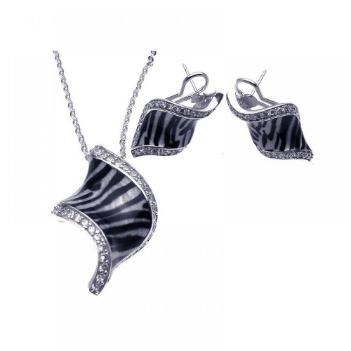 -Closeout- Wholesale Sterling Silver 925 Rhodium Plated Zebra Stripe Print Clear Curl CZ French Clip Earring and Necklace Set - BGS00085