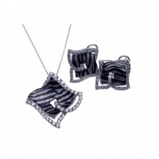 **Closeout** Wholesale Sterling Silver 925 Rhodium Plated Zebra Stripe Print Square Clear CZ French Clip Earring and Necklace Set - BGS00086
