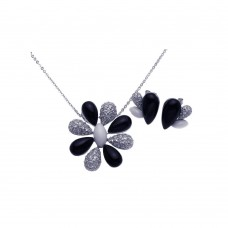 **Closeout** Wholesale Sterling Silver 925 Rhodium Plated Black Onyx White Enamel Clear Flower CZ Stud Earring and Necklace Set - BGS00088