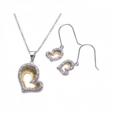 **Closeout** Sterling Silver Rhodium & Gold Plated Open Heart Clear Border CZ Hook Earring & Dangling Necklace Set bgs00089