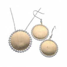 **Closeout** Sterling Silver Rhodium & Gold Plated Round Sun Disc Clear CZ Hook Earring & Necklace Set bgs00090