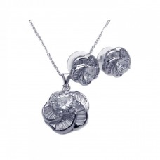Wholesale Sterling Silver 925 Rhodium Plated Clear Baguette Spiral Flower CZ Stud Earring and Necklace Set - BGS00093