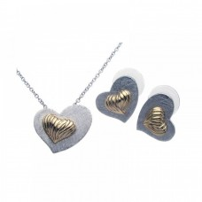 **Closeout** Sterling Silver Rhodium & Gold Plated Matte Finish Shell Heart Stud Earring & Necklace Set bgs00095