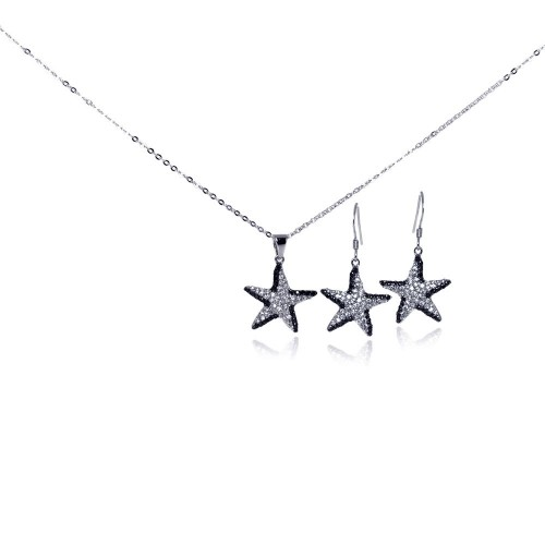 Wholesale Sterling Silver 925 Rhodium and Black Rhodium Plated Black and Clear Star CZ Hook Earring and Dangling Necklace Set - BGS00098