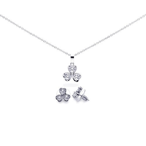Wholesale Sterling Silver 925 Rhodium Plated Clear Clover Leaf CZ Stud Earring and Necklace Set - BGS00104