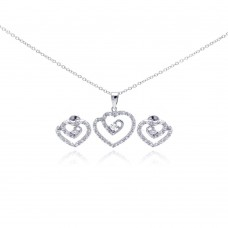 Wholesale Sterling Silver 925 Rhodium Plated Swirl Open Heart Clear CZ Stud Earring and Dangling Necklace Set - BGS00106
