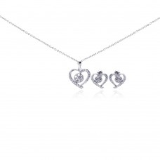 Wholesale Sterling Silver 925 Rhodium Plated Open Heart Clear Outline CZ Stud Earring and Necklace Set - BGS00107