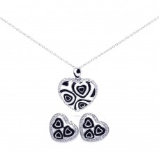 **Closeout** Sterling Silver Rhodium Plated Black & White Enamel Hear Clear CZ Stud Earring & Necklace Set bgs00108