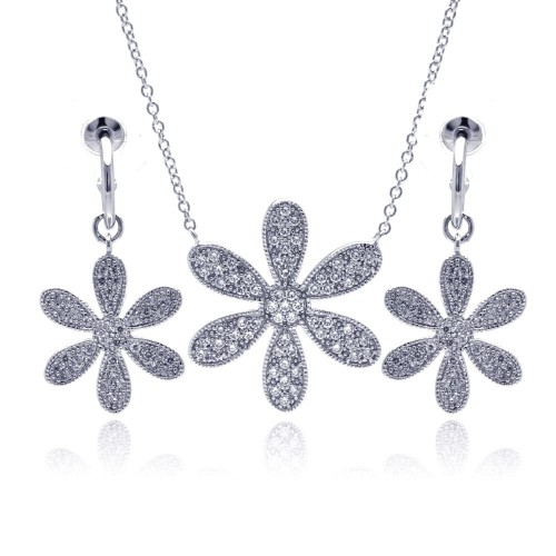 -CLOSEOUT- Wholesale Sterling Silver 925 Rhodium Plated Wide Wild Flower Clear Pave Set CZ Dangling Earring and Necklace Set - BGS00109