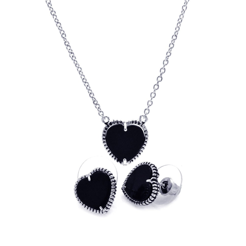 Wholesale Sterling Silver 925 Rhodium Plated Black Onyx Heart Stud Earring and Necklace Set - BGS00112