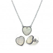 Wholesale Sterling Silver 925 Rhodium Plated Mother of Pearl Heart Stud Earring and Necklace Set - BGS00113
