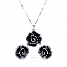 Wholesale Sterling Silver 925 Rhodium and Black Rhodium Plated Black and Clear Flower CZ Stud Earring and Necklace Set - BGS00115
