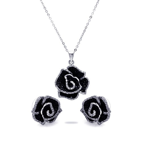 Sterling Silver Rhodium & Black Rhodium Plated Black & Clear Flower CZ Stud Earring & Necklace Set bgs00115