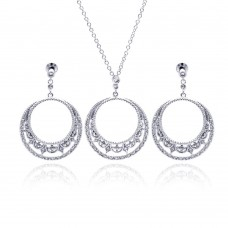 ***CLOSEOUT***Sterling Silver Rhodium Plated Open Circle Crescent Clear CZ Dangling Stud Earring & Dangling Necklace Set bgs00117
