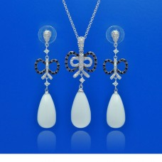 **Closeout** Sterling Silver Rhodium & Oxidized Plated White Teardrop Ribbon Black & Clear CZ Dangling Stud Earring & Dangling Necklace Set bgs00119