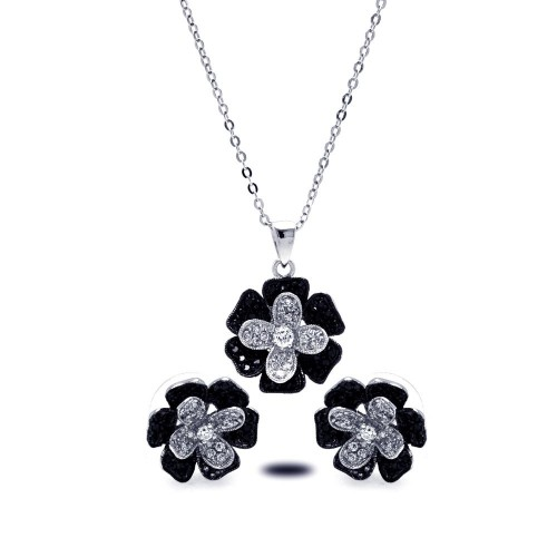 Wholesale Sterling Silver 925 Rhodium and Black Rhodium Plated Black and Clear Pave Set Flower CZ Stud Earring and Dangling Necklace Set - BGS00121