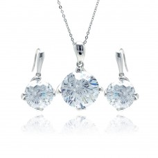 Sterling Silver Rhodium Plated Large Round Clear CZ Hook Earring & Dangling Necklace Set bgs00122