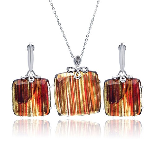 -CLOSEOUT- Wholesale Sterling Silver 925 Rhodium Plated Sandstone Square Stud Earring and Necklace Set - BGS00123