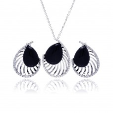 **Closeout** Wholesale Sterling Silver 925 Rhodium Plated Black Onyx Teardrop Filigree Clear CZ Stud Earring and Necklace Set - BGS00124