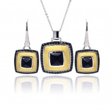Wholesale Sterling Silver 925 Rhodium Black Rhodium and Gold Plated Square Black CZ Leverback Earring and Necklace Set - BGS00125