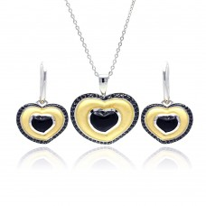 **Closeout** Wholesale Sterling Silver 925 Rhodium Black Rhodium and Gold Plated Heart Black CZ Stud Earring and Necklace Set - BGS00126