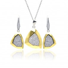 Wholesale Sterling Silver 925 Rhodium and Gold Plated Hammered Triangle Clear Pave Set CZ Leverback Earring and Necklace Set - BGS00128