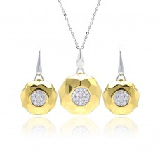 Sterling Silver Rhodium & Gold Plated Hammered Circle Clear Pave Set CZ Leverback Earring & Necklace Set bgs00129