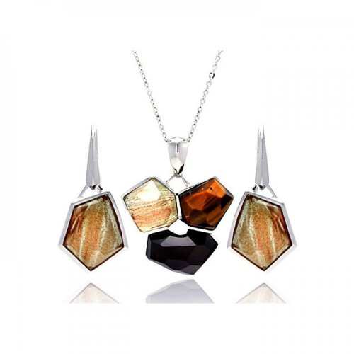 -Closeout- Wholesale Sterling Silver 925 Rhodium Plated Multi Colored Stone Leverback Earring and Necklace Set - BGS00134