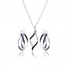 Sterling Silver Rhodium And Black Rhodium Plated Black & Clear Open Wave CZ Hoop Set - BGS00136
